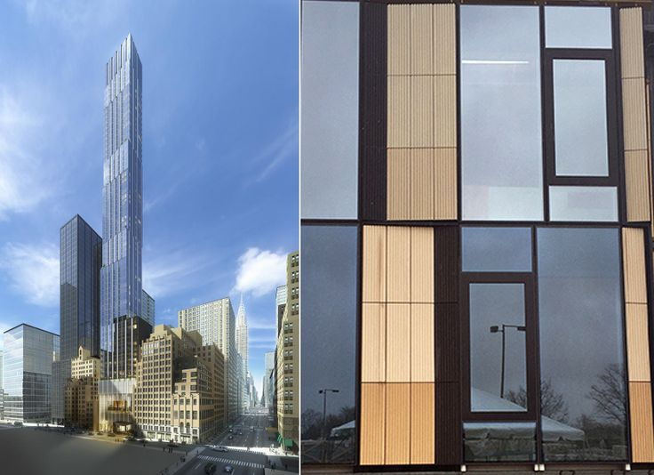 Rendering of Pelli Clarke Pelli's 138 East 50th Street and close-up mock-up of facade system