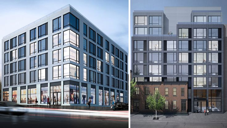 Two of AB Architekten's Clinton Hill properties, 531 Myrtle (left) and 100 Steuben Street (right) are nearing completion.