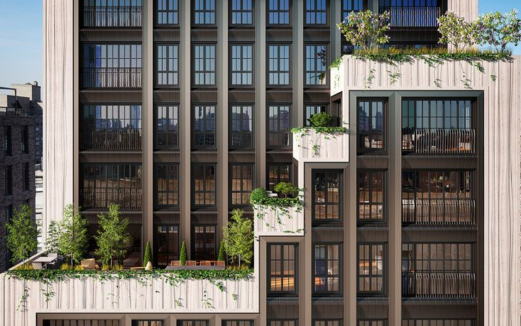 221 West 77th Street optimizes outdoor space with cascading terraces, floor-to-ceiling windows, and Juliet balconies.