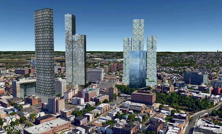 A Google Earth rendering of future Journal Square. Created by CityRealty