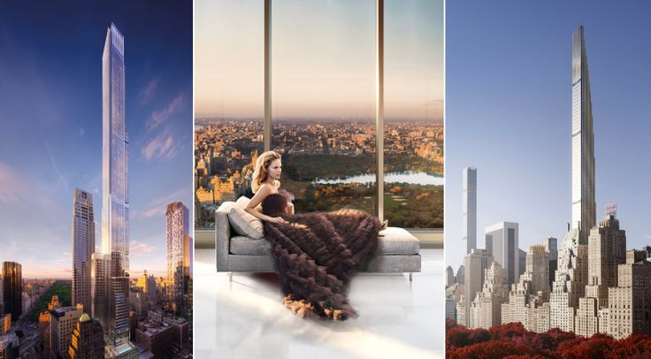 Renderings of Central Park Tower (Extell Development Company) and 111 West 57th Street (JDS Development/Property Markets Group)