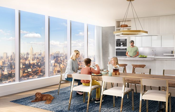 One Manhattan Square - Family in Open Concept Kitchen - Rendering