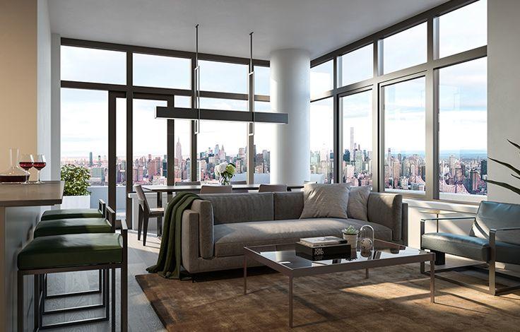 Skyline Tower - Unit Living Room Rendering
