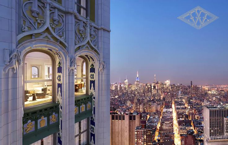 The Woolworth Tower Residences - Exterior View - Building Top with Skyline