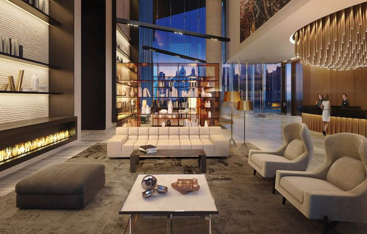 One Manhattan Square - Interior - Communal Space Rendering