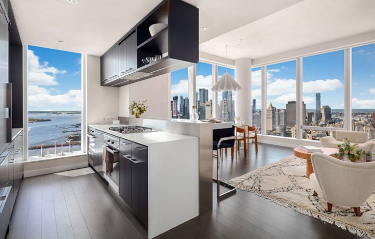 One Manhattan Square - Open Concept Kitchen with View on Skyline