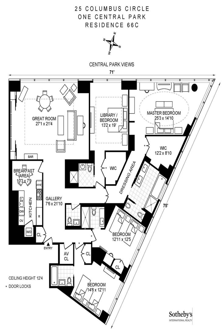Time Warner Center 25 Columbus Circle Unit 66c 4 Bed Apt For