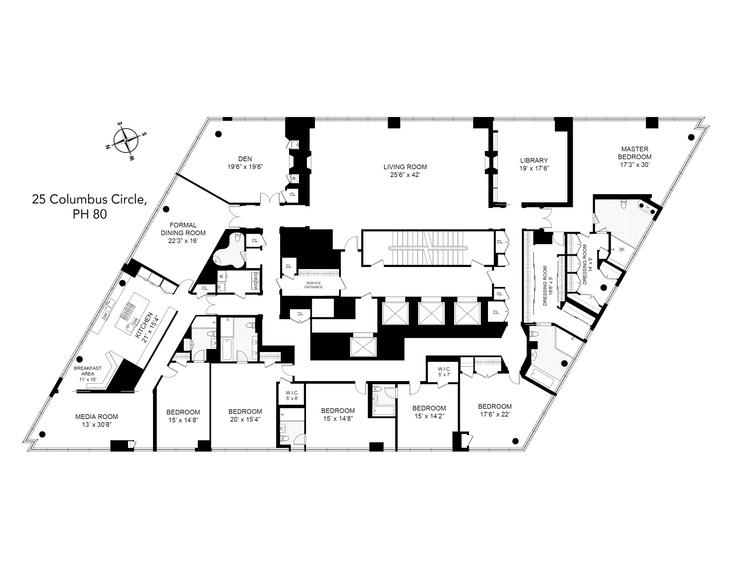 Time Warner Center 25 Columbus Circle Unit Ph80 5 Bed Apt For