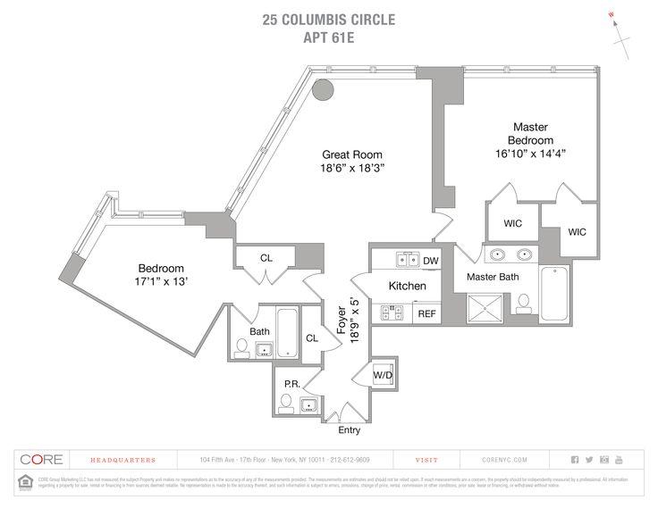 Time Warner Center 25 Columbus Circle Unit 61e 2 Bed Apt For