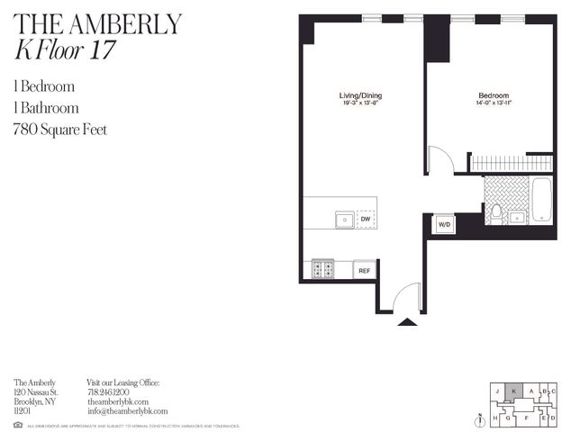 The Amberly 120 Nassau Street Unit 17k 1 Bed Apt For Rent For 3 585 Cityrealty